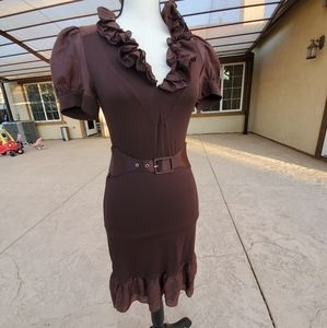 Bebe brown ruffle dress